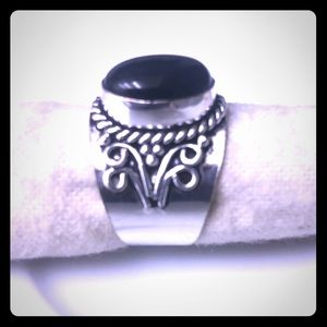 Sterling Silver Black Onyx Ring Size 8
